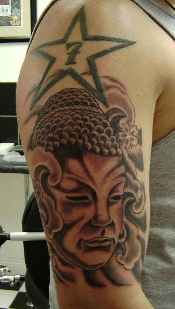 buddhist face with buddhist symbols tattoo on arm. Black Bedroom Furniture Sets. Home Design Ideas